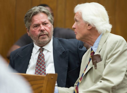 Robert T. Merriken Sr., a Spring Lake Heights councilman who was arrested in April on drug paraphernalia possession charges, appears in Neptune Municipal Court before Judge Robin T. Wernik. Merriken confers with his defense attorney Charles F. Shaw III.Neptune, NJThursday, July 19, 2018