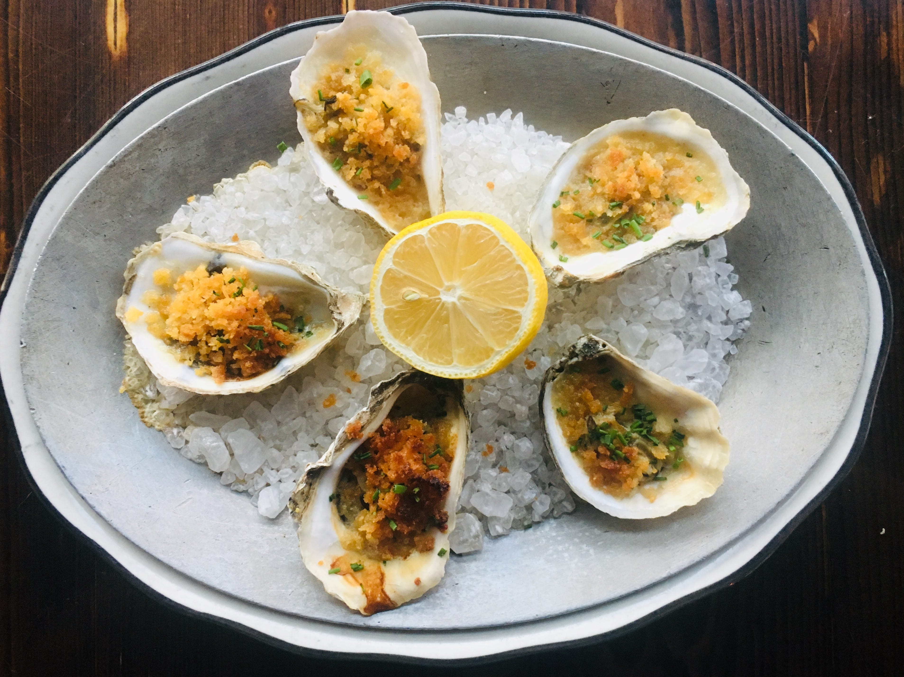 Broiled oysters are on the December menu at The Bonney Read in Asbury Park.