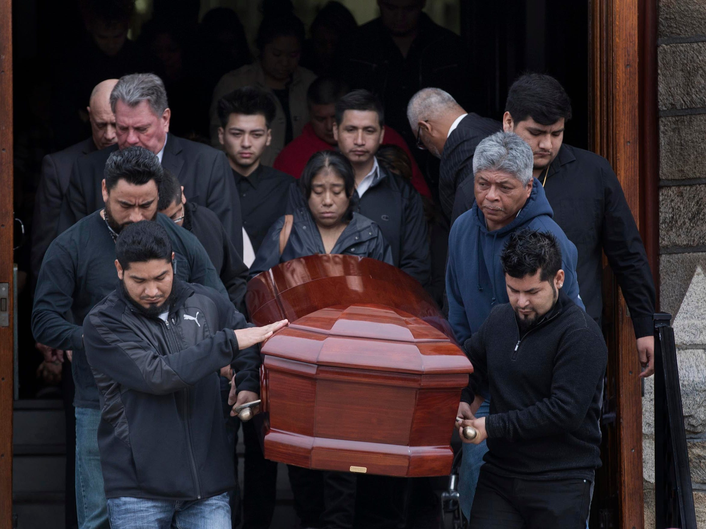 Funeral service for 10 year old Yovanni Banos-Mereno at Holy Spirit Roman Catholic Church in Asbury Park who was killed by a stray bullet through the window of his home.  The gunman was looking to shoot YovanniÕs older brother over a gang issue.  2/28/2018