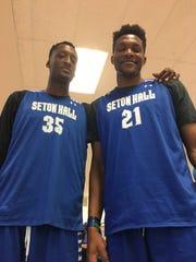 Seton Hall's 7-foot-2 Romaro Gill (left) and 7-1 Ike Obiagu