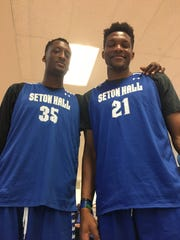 Seton Hall's 7-foot-2 Romaro Gill (left) and 7-1 Ike Obiagu
