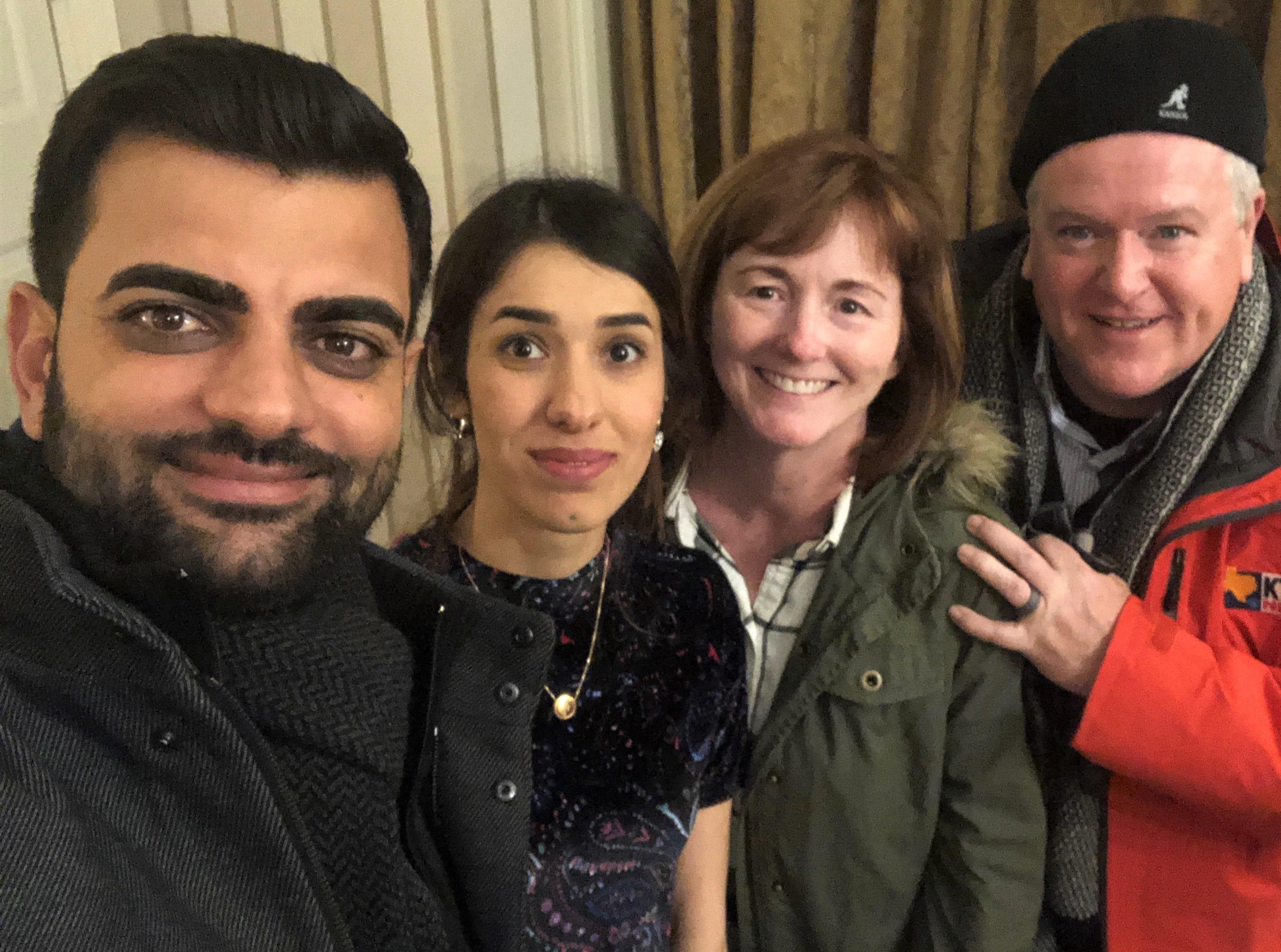 From left, Abid Shamdeen, Nadia Murad, Suzanne Sims and Danny Sims take a selfie Sunday in Oslo, Norway, where Murad on Monday was honored as co-recipient of the 2018 Nobel Peace Prize. The Simses, of Abilene, were guests of Murad, who spoke in Abilene in April 2017 at the Paramount Theatre. She now is married to Shamdeen. African physician Denis Mukwege shared the prize with Murad.