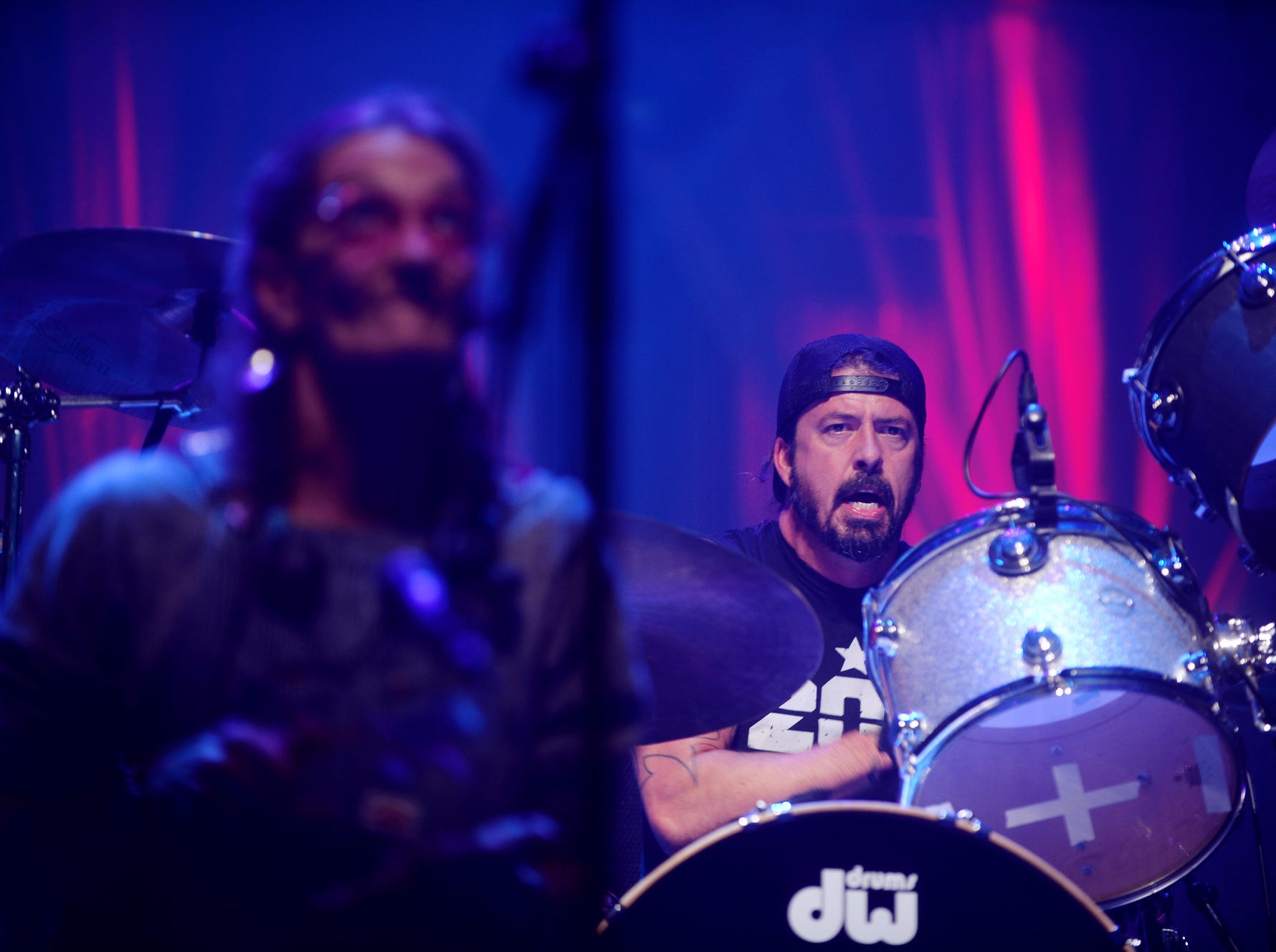 Dave Grohl and Abby the Spoon Lady perform during the second night of Christmas Jam Dec. 8, 2018.