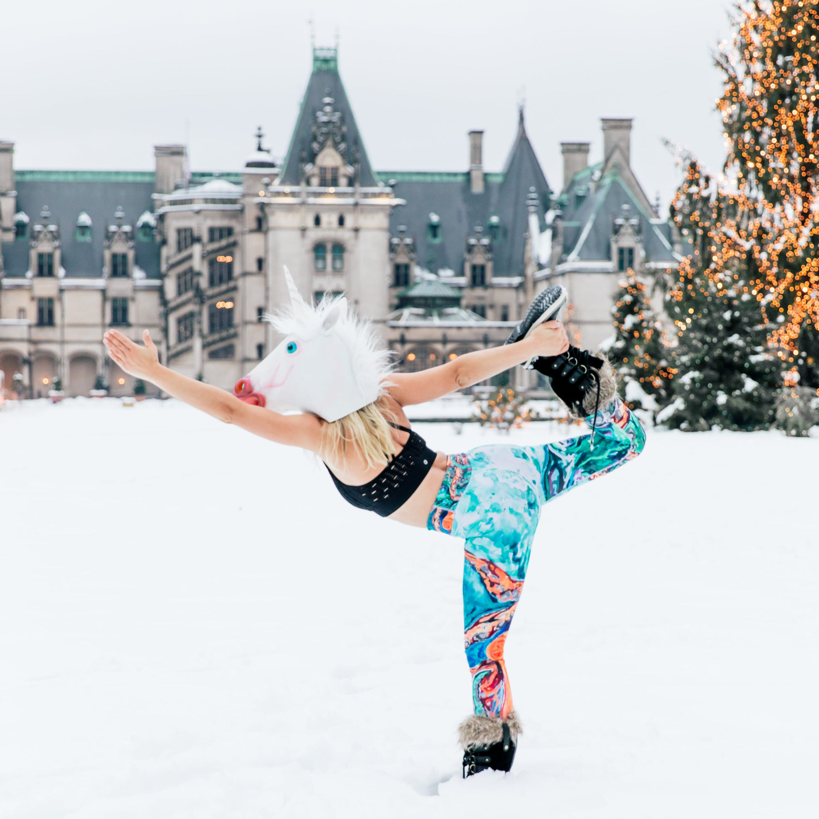 Unicorn yogi strikes a pose in the snow at Biltmore