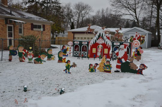 Christmas cutouts at 125 North Woodrow Ave. in Battle Creek.