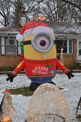 A minion inflatable at 116 19th Street North in Battle Creek.