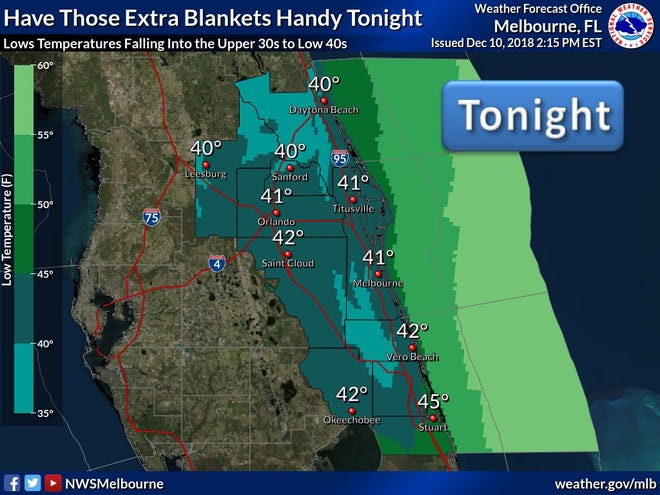 Cold front brings biting temperatures to Space Coast, according to the National Weather Service.