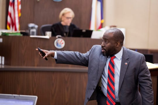 Prosecutor Matt Manning presents closing arguments in the murder trial of Cedric Green in the 117th District Court on Monday, December 10, 2018. Green is one of four people accused in the killing of Elizabeth Stephanie Montez, a transgender woman.