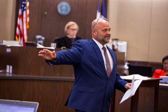 Defense attorney Mark Stolley presents closing arguments in the murder trial of Cedric Green in the 117th District Court on Monday, December 10, 2018. Green is one of four people accused in the killing of Elizabeth Stephanie Montez, a transgender woman.