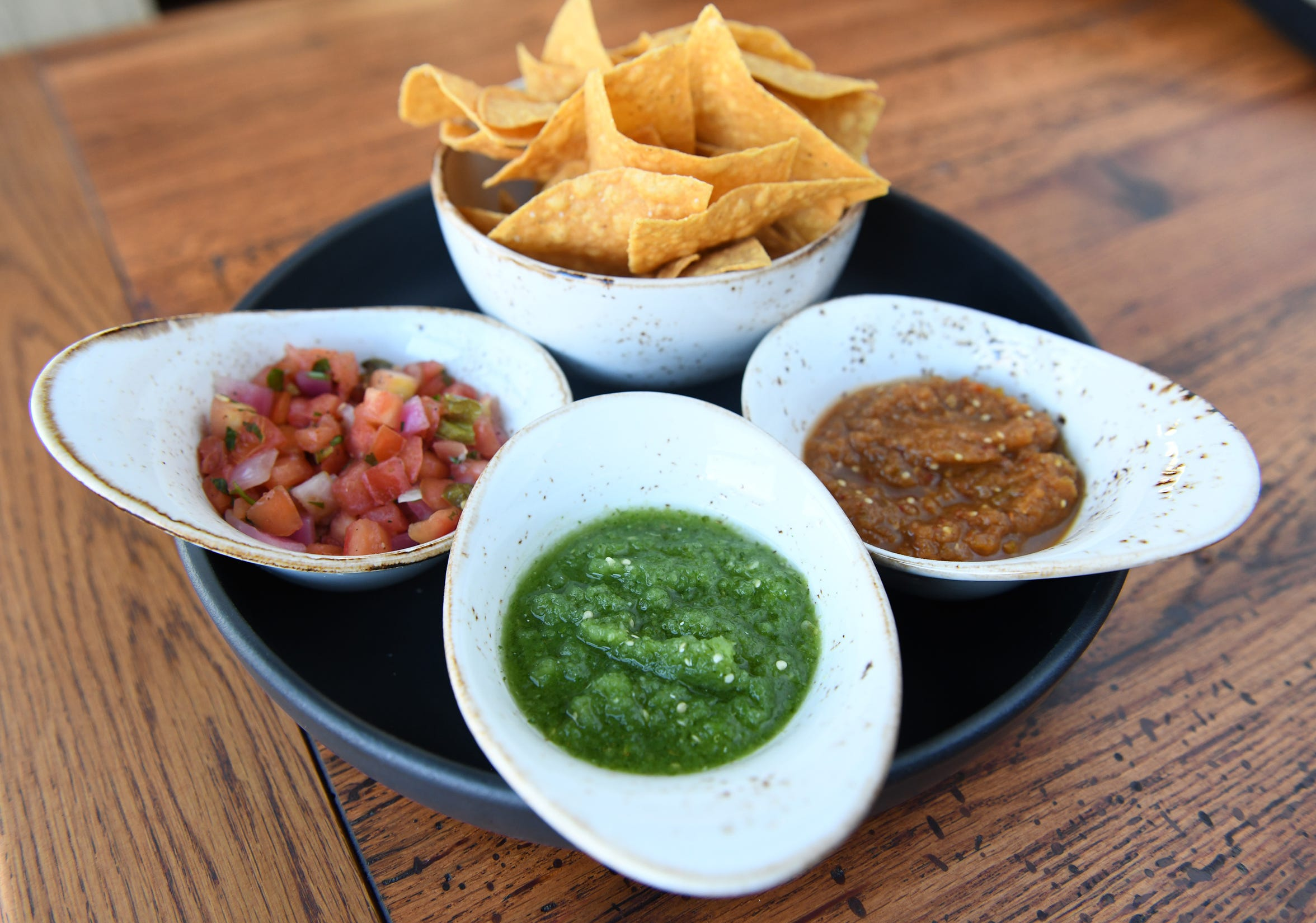 A Salsa Trio kicks off a meal or pairs with drinks at the bar of Central Taco and Tequila.