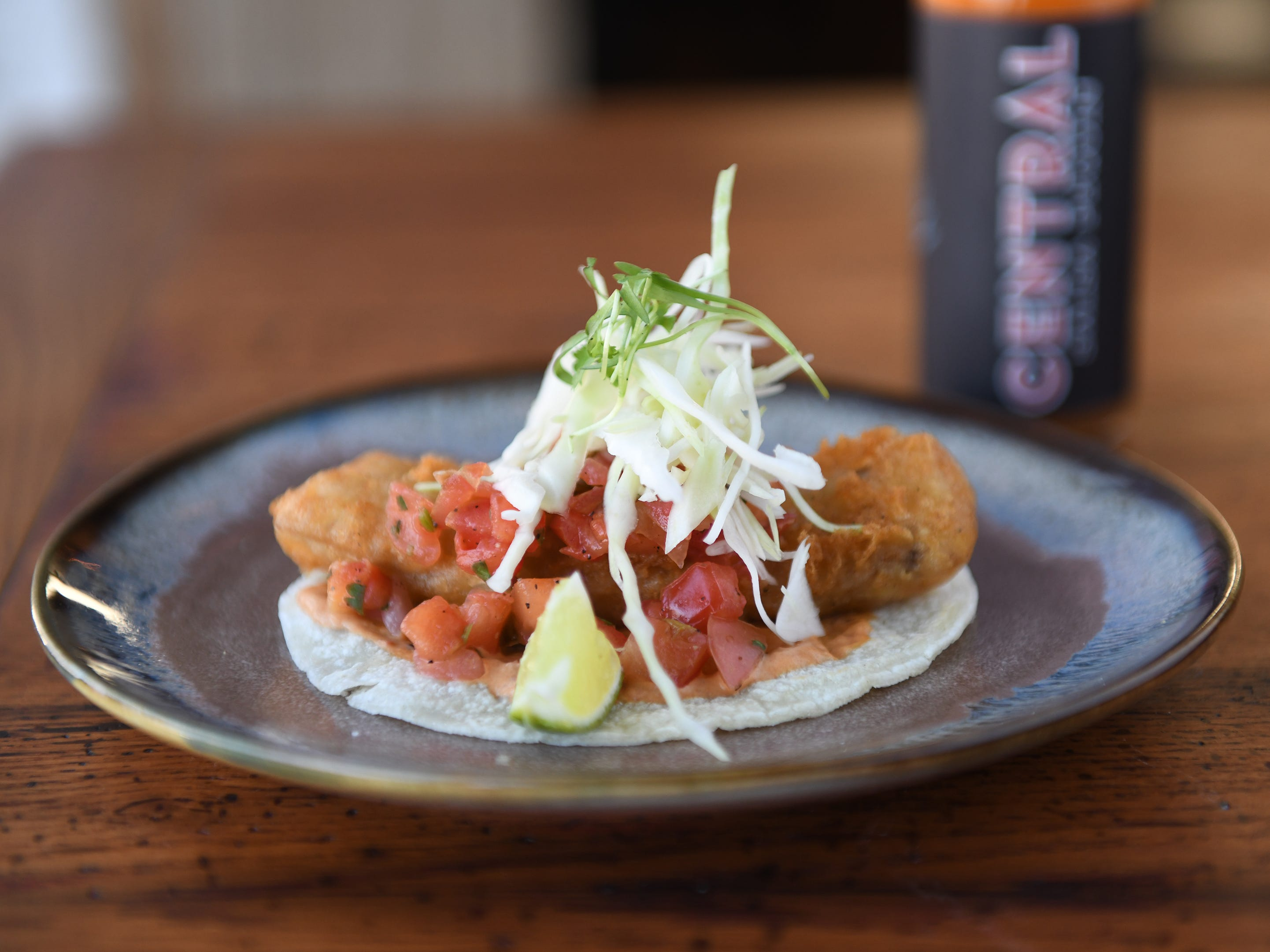 A Crispy Fish Taco is displayed at Central Taco And Tequila in Westmont.