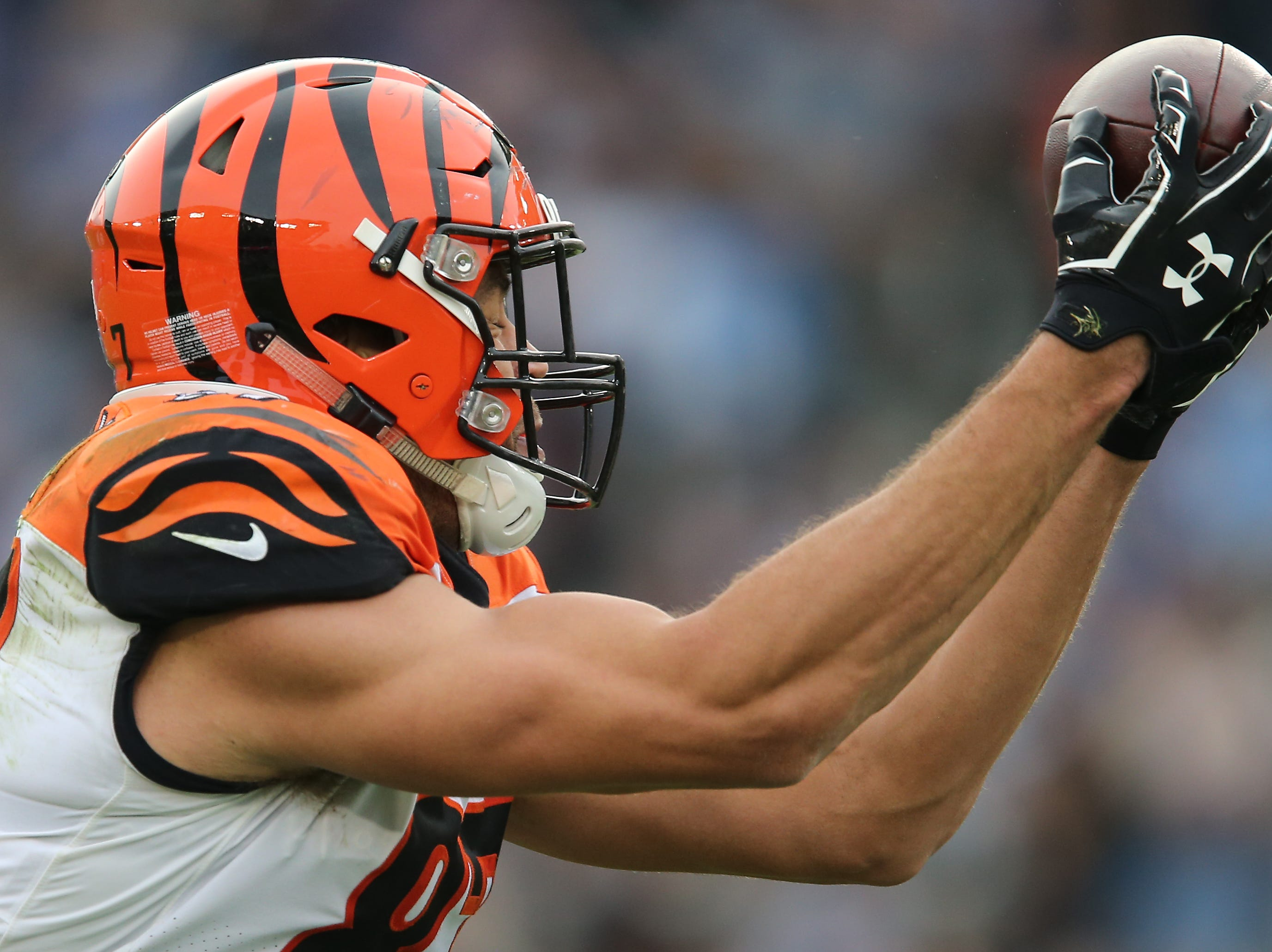 Cincinnati Bengals tight end C.J. Uzomah (87) catches a pass in the third quarter of a Week 14 NFL football game against the Los Angeles Chargers, Sunday, Dec. 9, 2018, at StubHub Center in Carson, California.