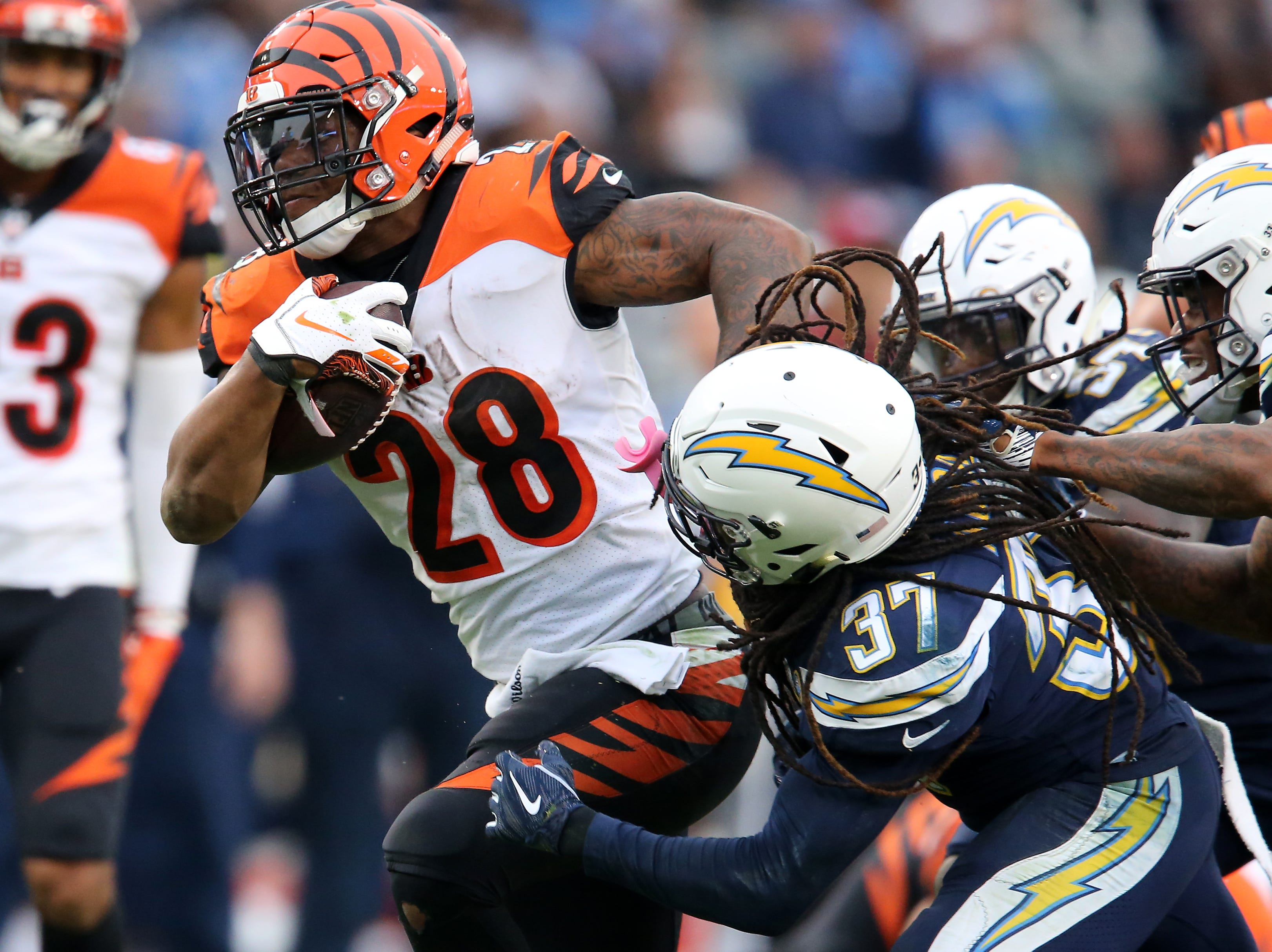 Cincinnati Bengals running back Joe Mixon (28) carries the ball in the fourth quarter of a Week 14 NFL football game against the Los Angeles Chargers, Sunday, Dec. 9, 2018, at StubHub Center in Carson, California. The Los Angeles Chargers won 26.21.
