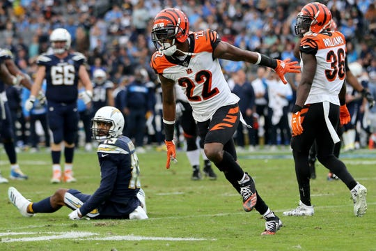 Cincinnati Bengals cornerback William Jackson (22) reacts after breaking up a pass intended for Los Angeles Chargers wide receiver Keenan Allen (13), left, in the fourth quarter of a Week 14 NFL football game, Sunday, Dec. 9, 2018, at StubHub Center in Carson, California. The Los Angeles Chargers won 26.21.