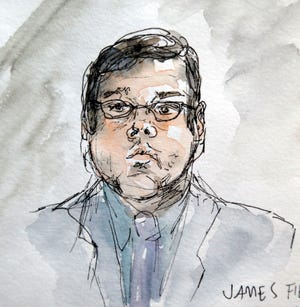 This artwork shows James Alex Jr., during the second day of jury selection in his trial in Charlottesville General District Court in Charlottesville, Va., Tuesday, Nov. 27, 2018.