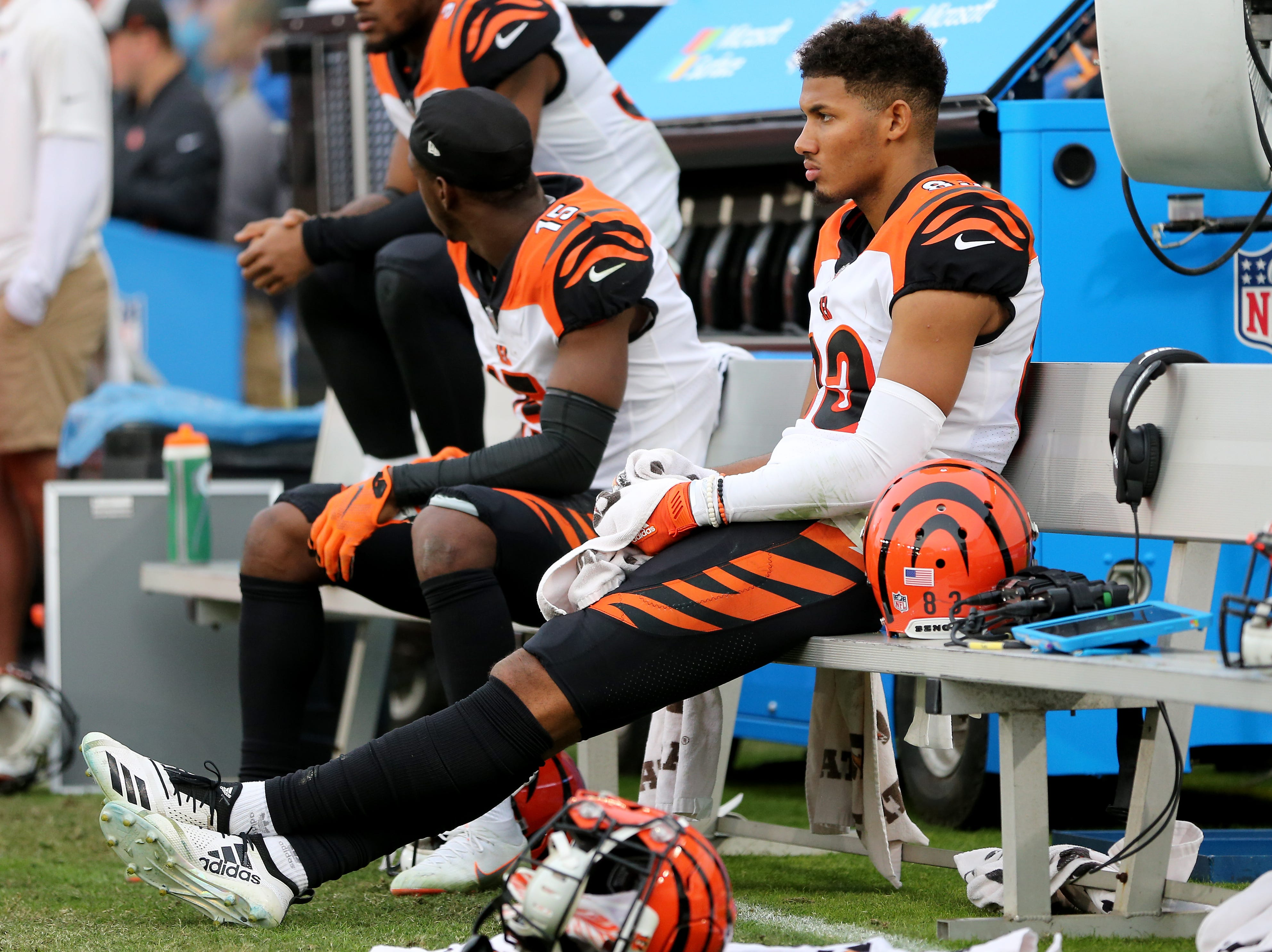 Cincinnati Bengals wide receiver Tyler Boyd (83) sits on the bench in the final moment of the fourth quarter of a Week 14 NFL football game against the Los Angeles Chargers, Sunday, Dec. 9, 2018, at StubHub Center in Carson, California. The Los Angeles Chargers won 26.21.