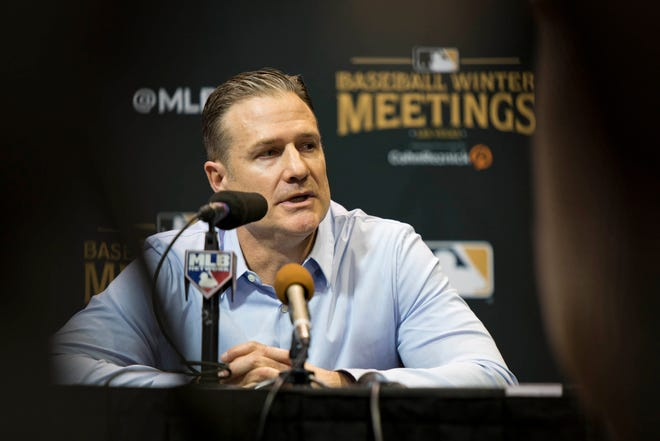 Dec 10, 2018; Las Vegas, NV, USA; Cincinnati Reds manager David Bell talks to the media during the MLB Winter Meetings at the Mandalay Bay Convention Center. Mandatory Credit: Daniel Clark-USA TODAY Sports