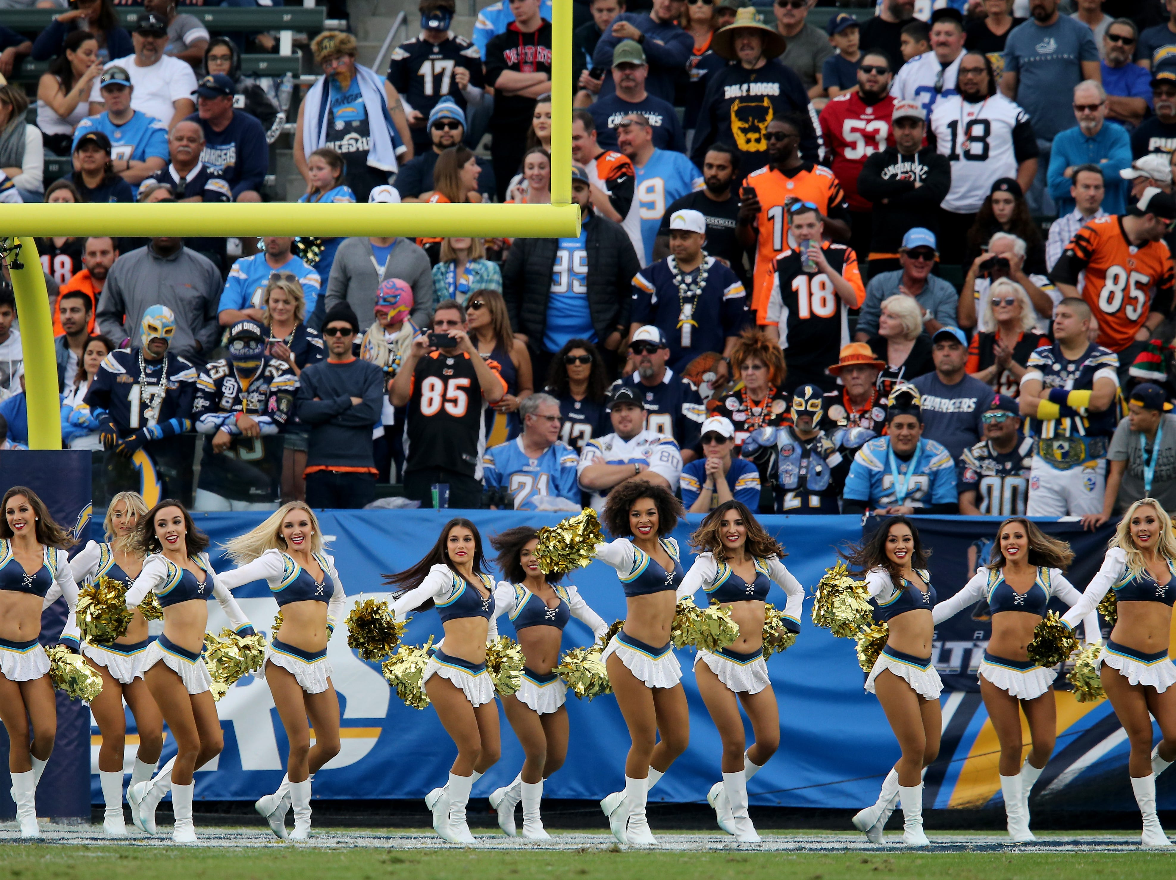 Los Angeles Chargers cheerleaders perform in the fourth quarter of a Week 14 NFL football game, Sunday, Dec. 9, 2018, at StubHub Center in Carson, California. The Los Angeles Chargers won 26.21.
