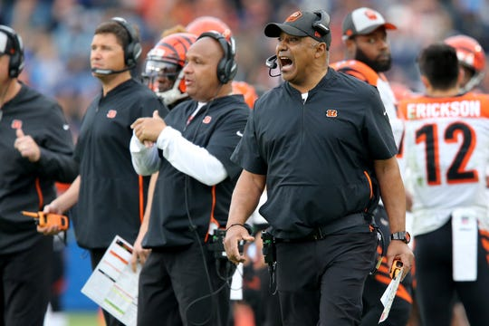 Cincinnati Bengals head coach Marvin Lewis instructs the team in the fourth quarter of a Week 14 NFL football game against the Los Angeles Chargers, Sunday, Dec. 9, 2018, at StubHub Center in Carson, California. The Los Angeles Chargers won 26.21.