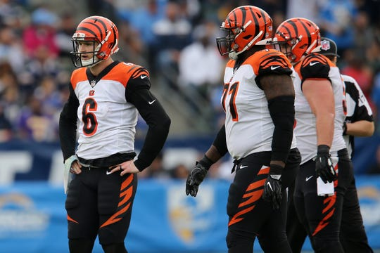 Cincinnati Bengals quarterback Jeff Driskel (6) rests his hands on his hips and looks toward the bench in the third quarter of a Week 14 NFL football game against the Los Angeles Chargers, Sunday, Dec. 9, 2018, at StubHub Center in Carson, California.