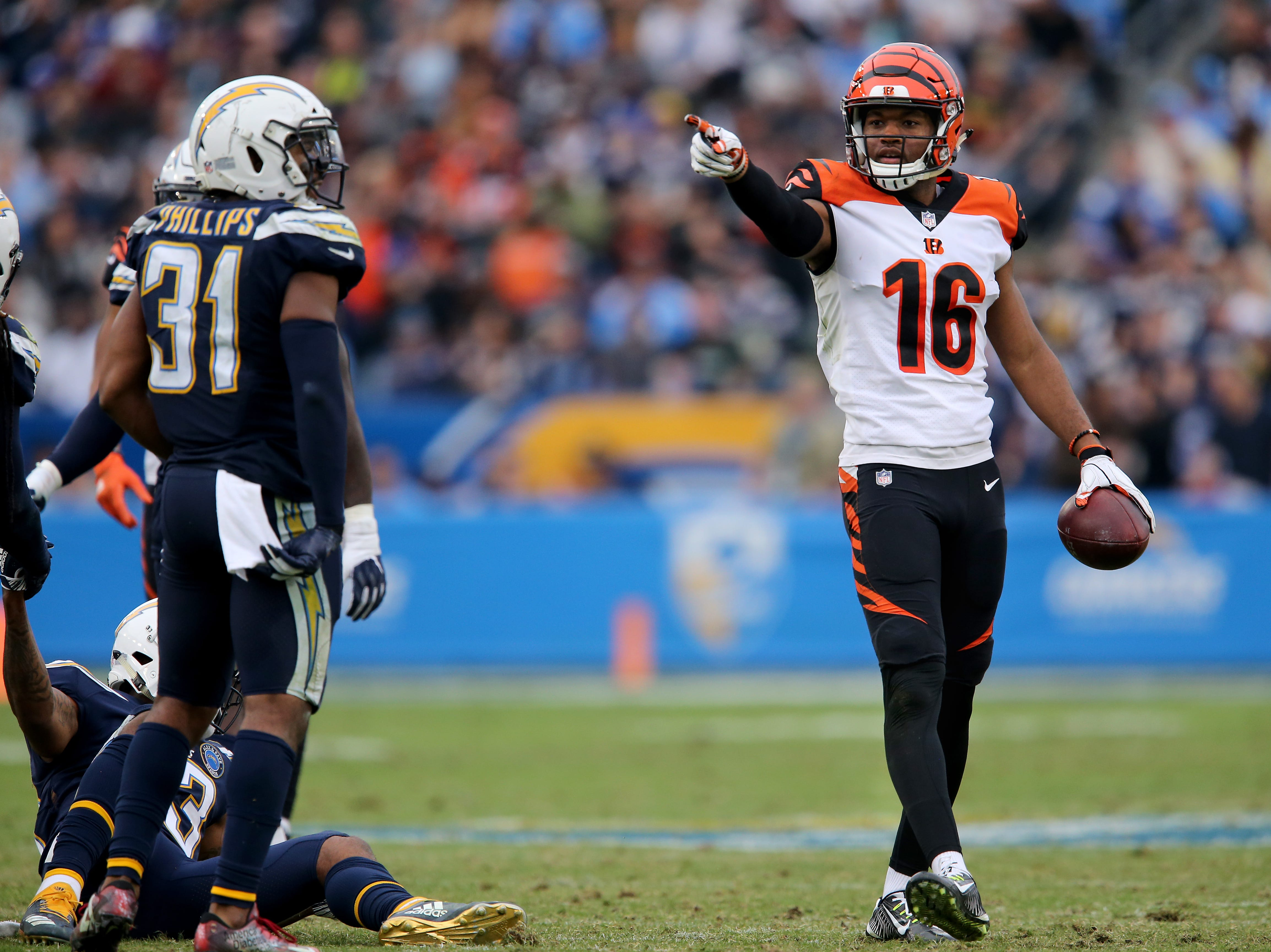 Cincinnati Bengals wide receiver Cody Core (16) signals for a first down after completing a catch in the fourth quarter of a Week 14 NFL football game, Sunday, Dec. 9, 2018, at StubHub Center in Carson, California.