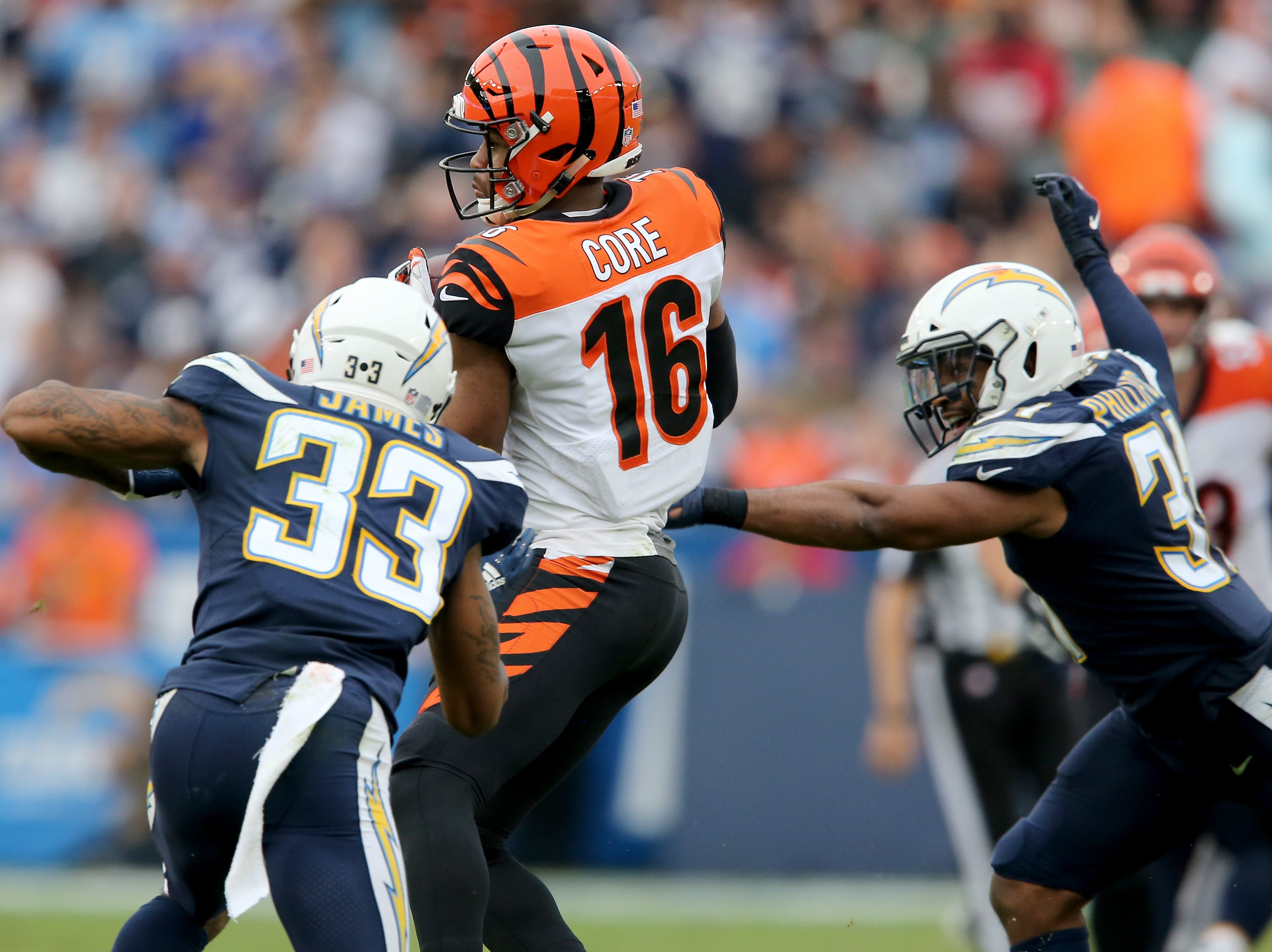 Cincinnati Bengals wide receiver Cody Core (16) completes a catch in the fourth quarter of a Week 14 NFL football game against the Los Angeles Chargers, Sunday, Dec. 9, 2018, at StubHub Center in Carson, California.