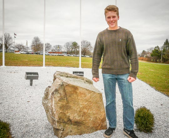 Eagle Scout candidate Liam Kephart is making good progress on his monument to Delaware Valley High School alumni who have served in the armed forces.