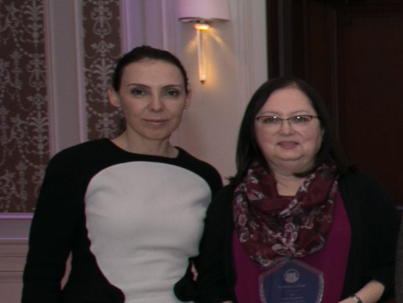 "Professor Doris Alvarado, MD, Berkeley College School of Health Sciences (above right), receives the Excellence in Teaching Award during the 2018 Berkeley College Faculty Recognition Awards dinner, held on November 14, 2018, at The Terrace in Paramus, NJ.  She is pictured with Eva Skuka, MD, Dean, Berkeley College School of Health Studies.""I think a great teacher connects with every student that enters his or her classroom,"" said Dr. Alvarado.""On the first day of class, I engage with the students individually to learn more about who they are, why they have chosen a career in the medical field and what their expectations are for my class.  Knowing my students well provides me the information needed to establish an optimal learning environment for each one of them, ensuring they leave each day with new knowledge and a desire to return for more."" Dr. Alvarado is a resident of Scotch Plains."
