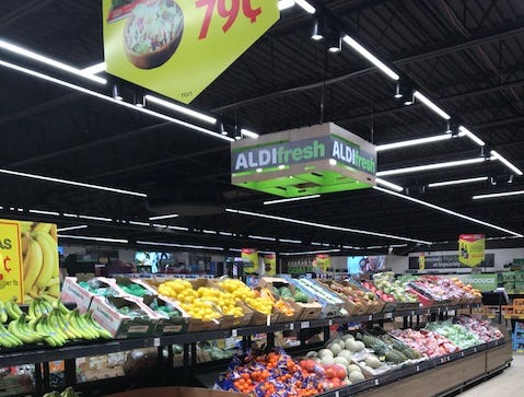 An assortment of fresh produce at the remodeled ALDI store in New Brunswick and all other locations includes a large organic produce selection. The company increased fresh food offerings by 40 percent in recent years.