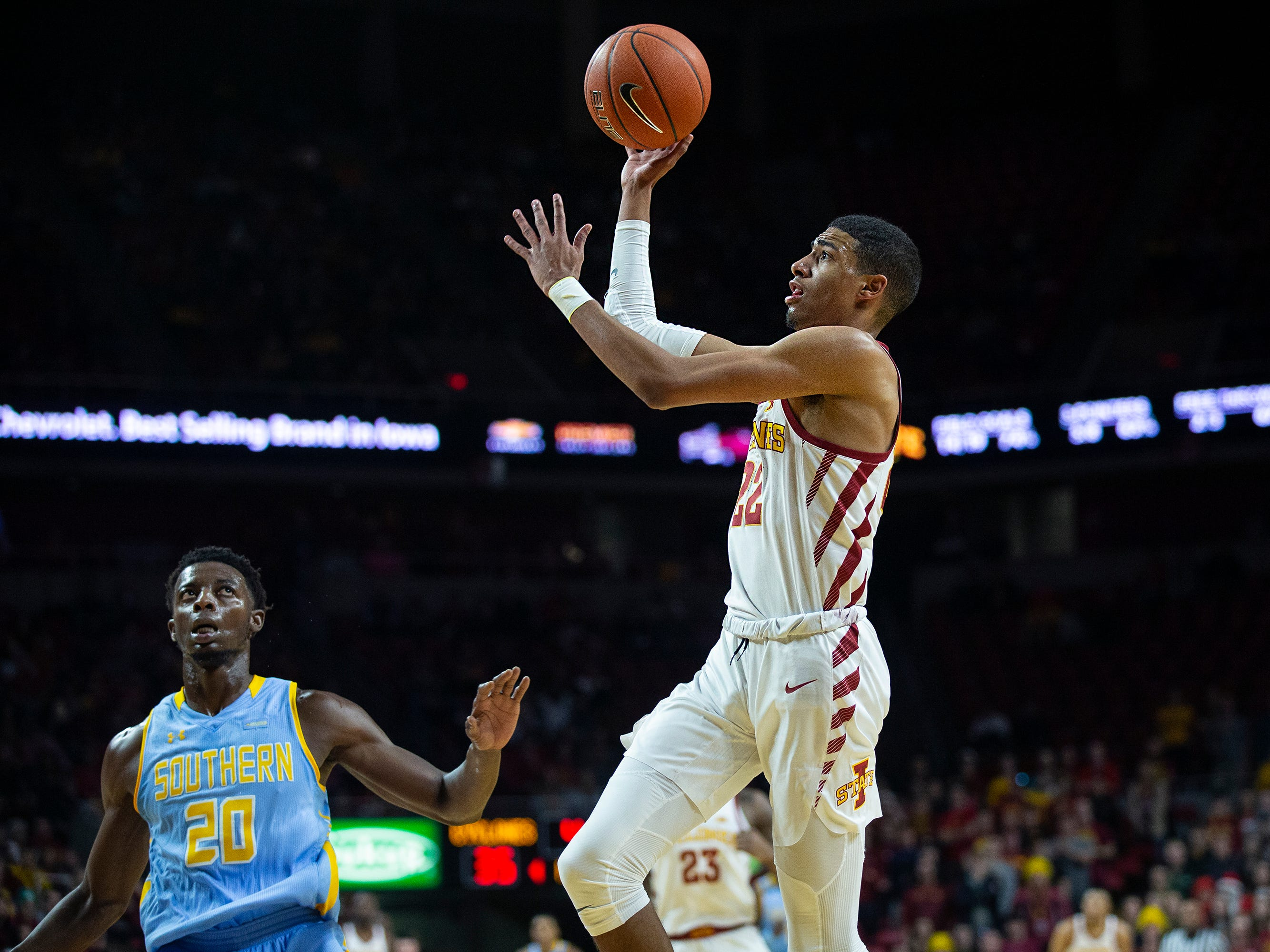 Iowa State's Tyrese Haliburton passes the ball during the Iowa State men's basketball game against Southern on Sunday, Dec. 9, 2018, in Hilton Coliseum.