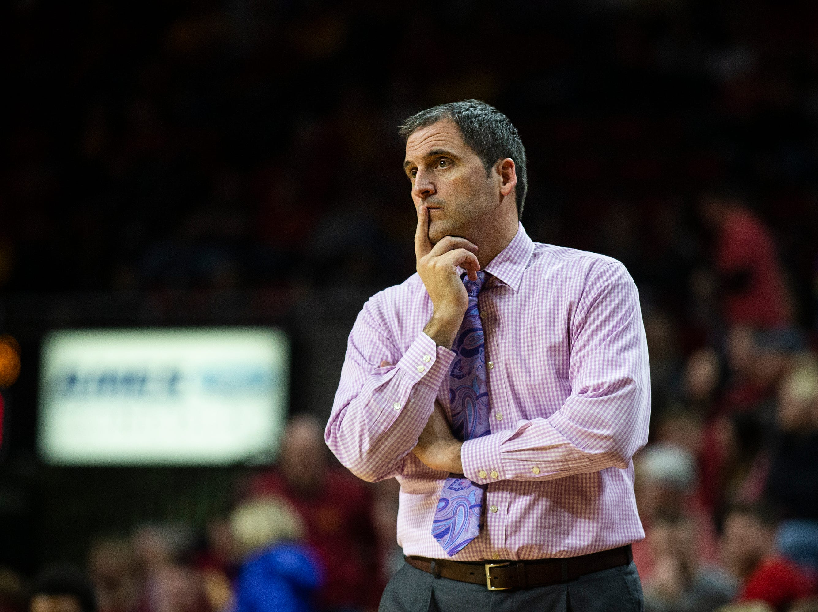 Iowa State Head Coach Steve Prohm watches his team during the Iowa State men's basketball game against Southern on Sunday, Dec. 9, 2018, in Hilton Coliseum.