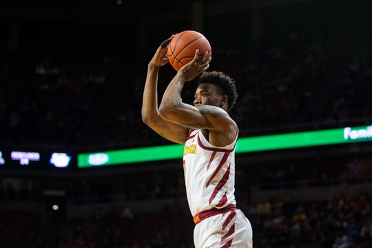 Iowa State's Zion Griffin shoot a three-point shot during the Iowa State men's basketball game against Southern on Sunday, Dec. 9, 2018, in Hilton Coliseum.