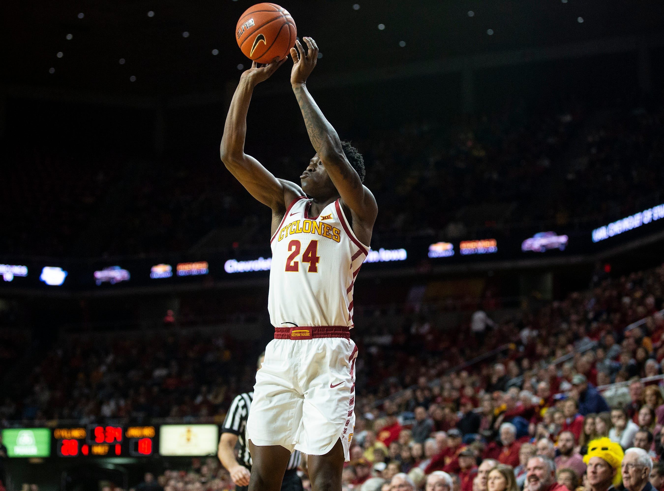 Iowa State's Terrence Lewis shoots the ball during the Iowa State men's basketball game against Southern on Sunday, Dec. 9, 2018, in Hilton Coliseum.