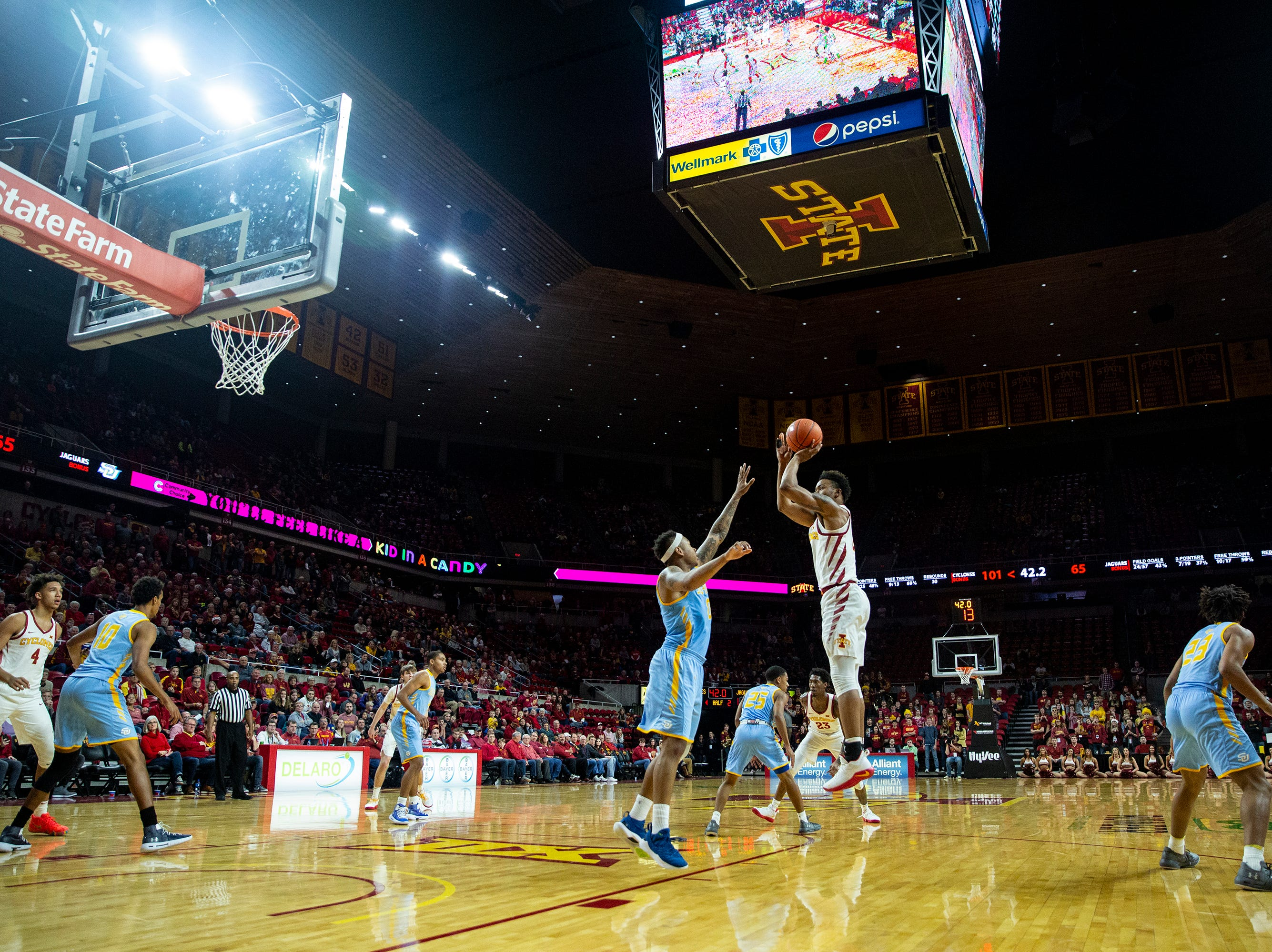 Iowa State's Zion Griffin makes a jump-shot during the Iowa State men's basketball game against Southern on Sunday, Dec. 9, 2018, in Hilton Coliseum.
