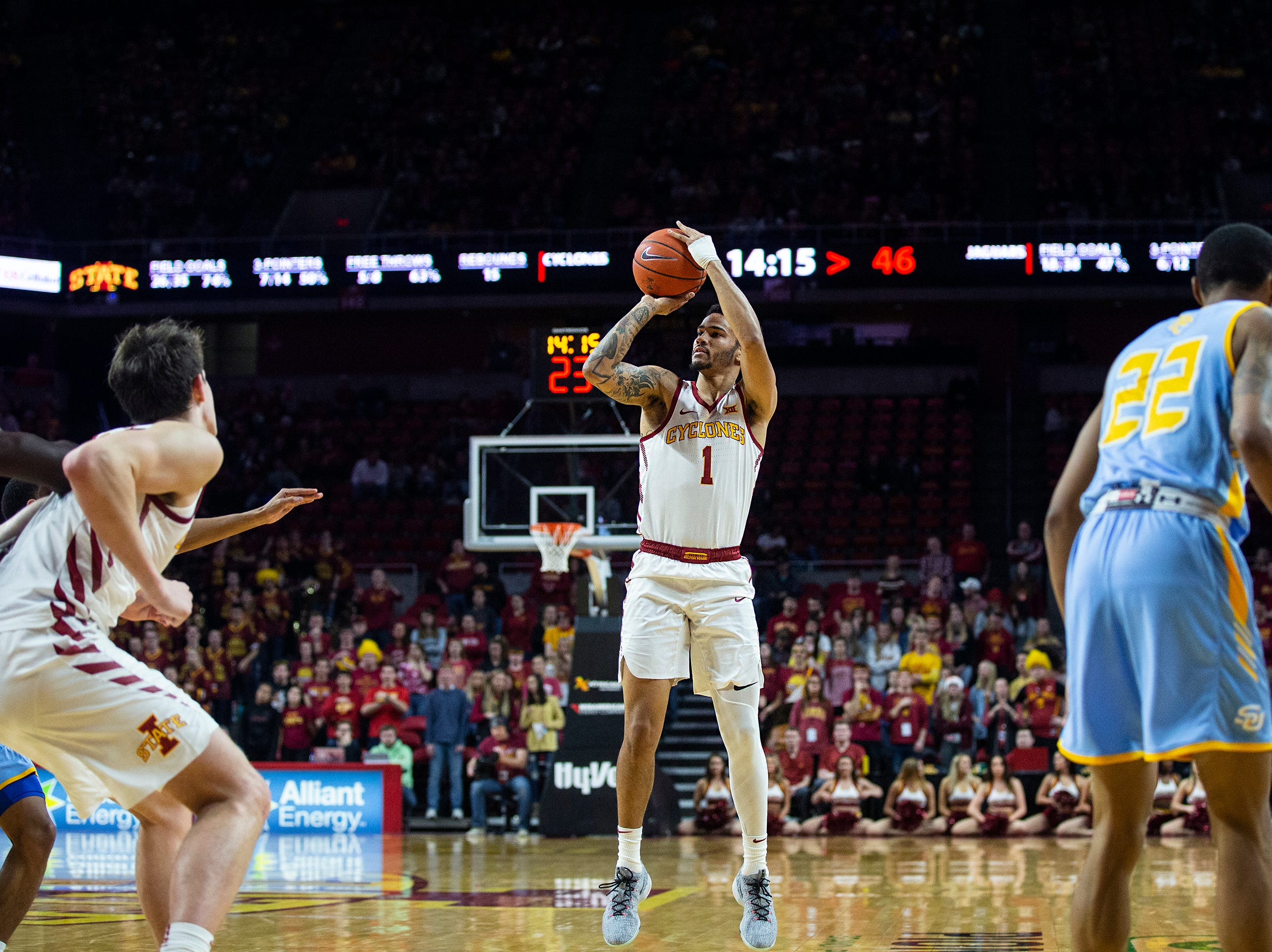 Iowa State's Nick Weiler-Babb shoots a three during the Iowa State men's basketball game against Southern on Sunday, Dec. 9, 2018, in Hilton Coliseum.