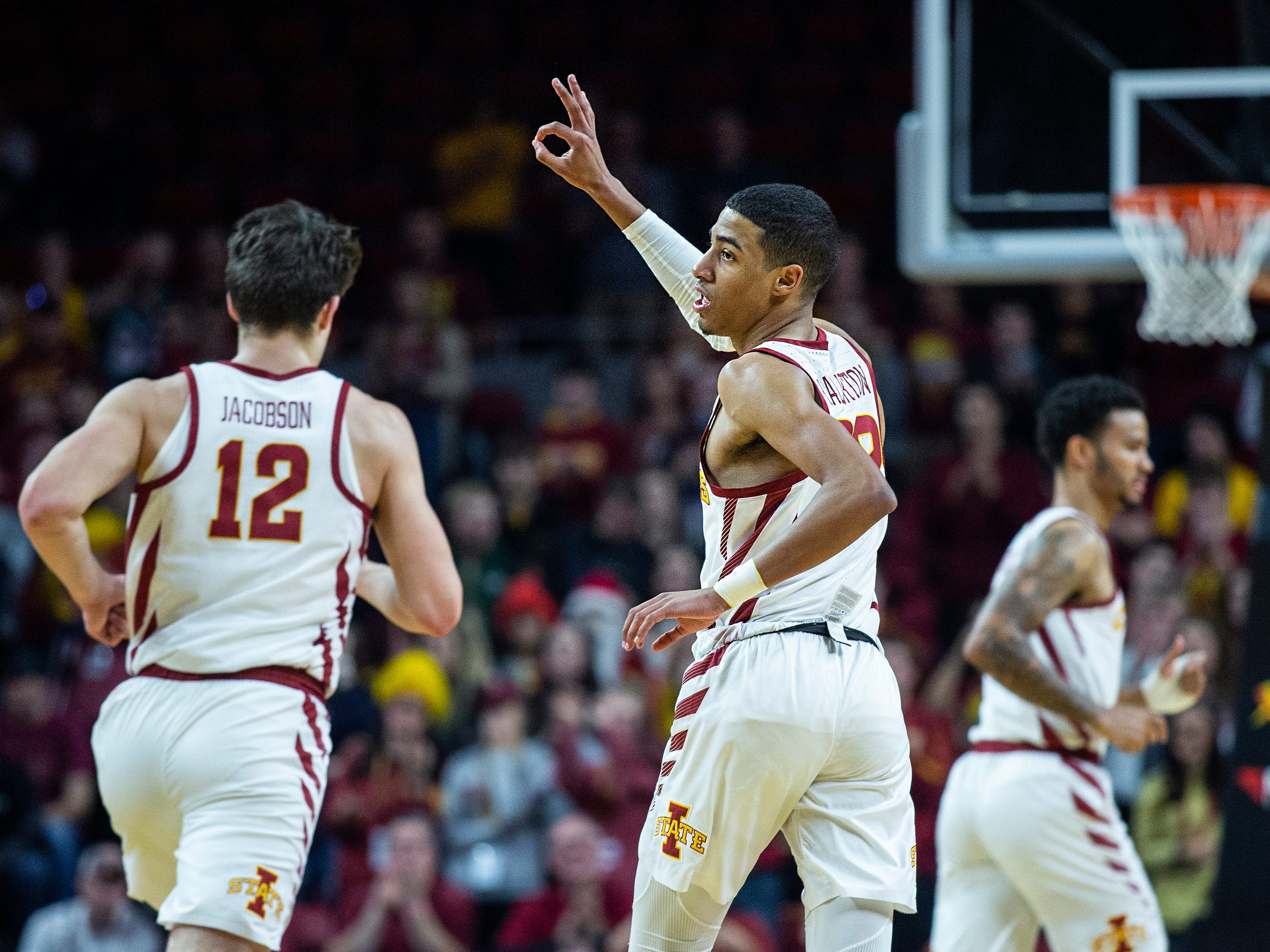 Iowa State's Tyrese Haliburton celebrates altering making a three-point shot during the Iowa State men's basketball game against Southern on Sunday, Dec. 9, 2018, in Hilton Coliseum.