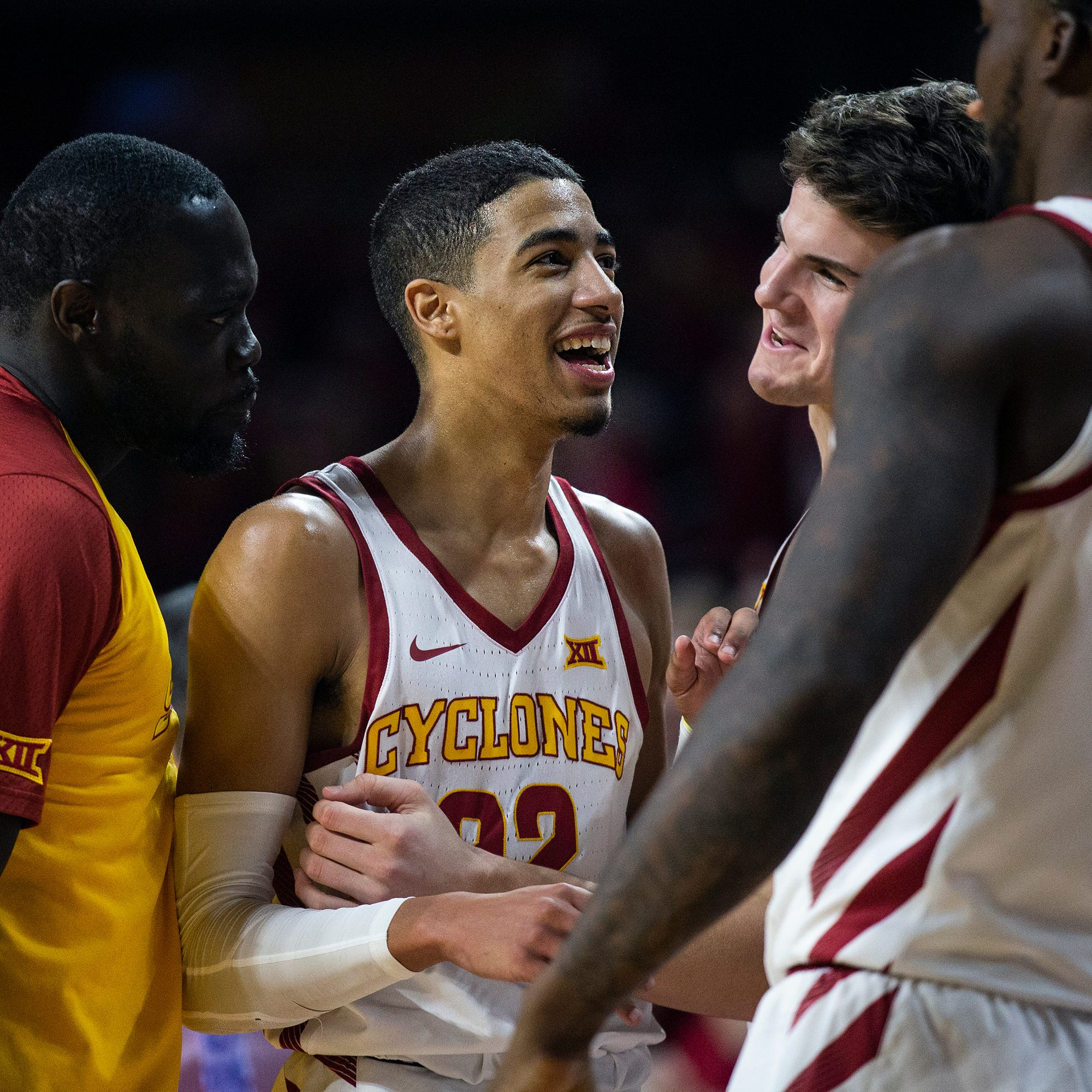 Iowa State's Tyrese Haliburton is cheered on by...