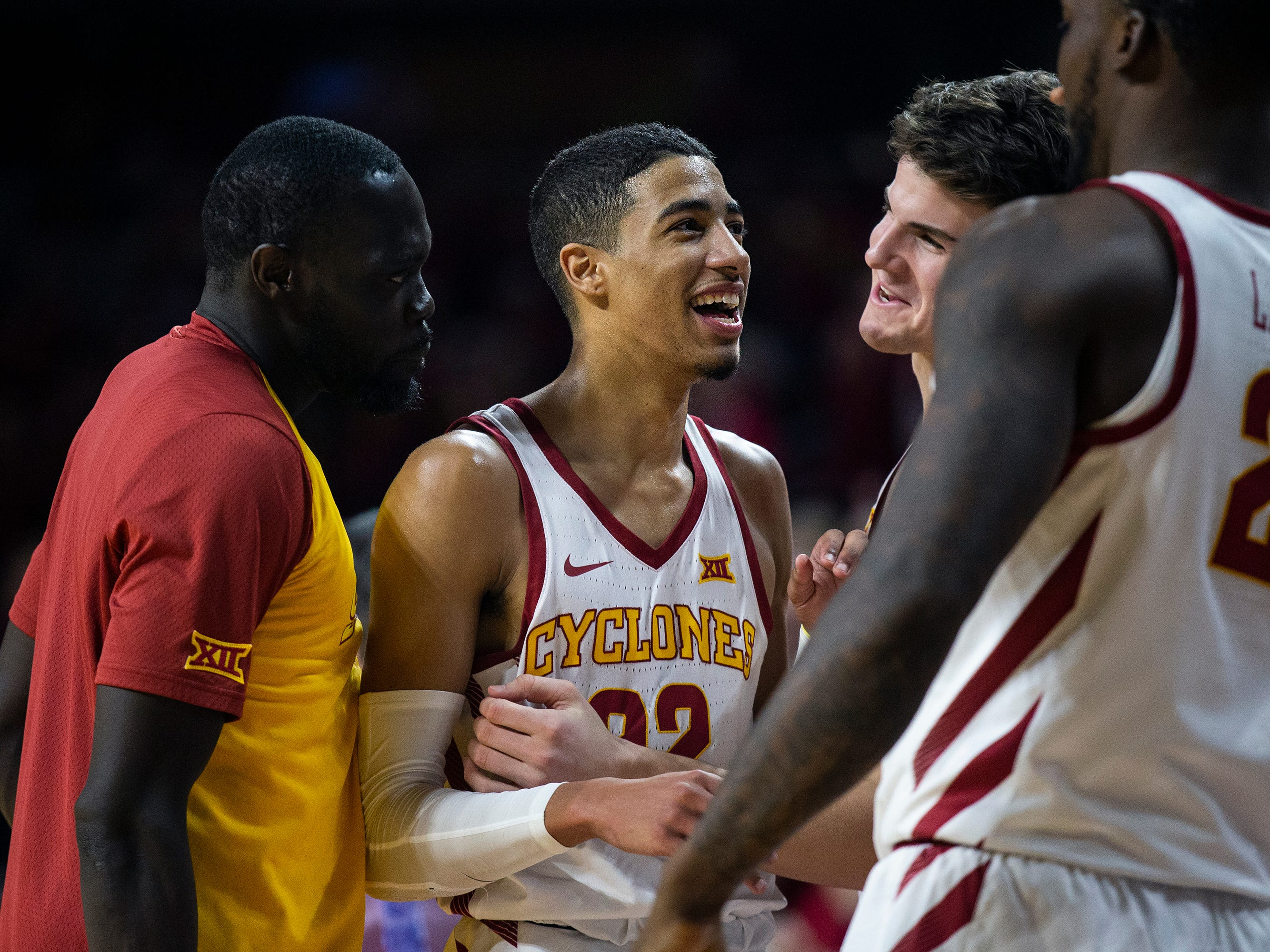 Iowa State's Tyrese Haliburton is cheered on by his teammates after setting a school record of 17 assists during the Iowa State men's basketball game against Southern on Sunday, Dec. 9, 2018, in Hilton Coliseum.