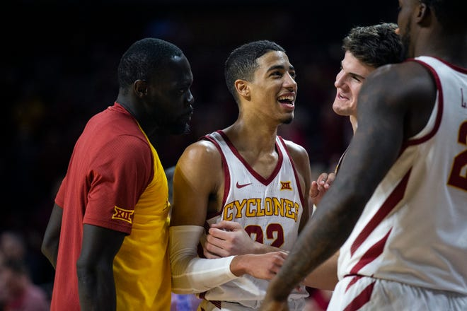 Iowa State's Tyrese Haliburton is congratulated by teammates after setting a school record with 17 assists during a Dec. 9 game against Southern.