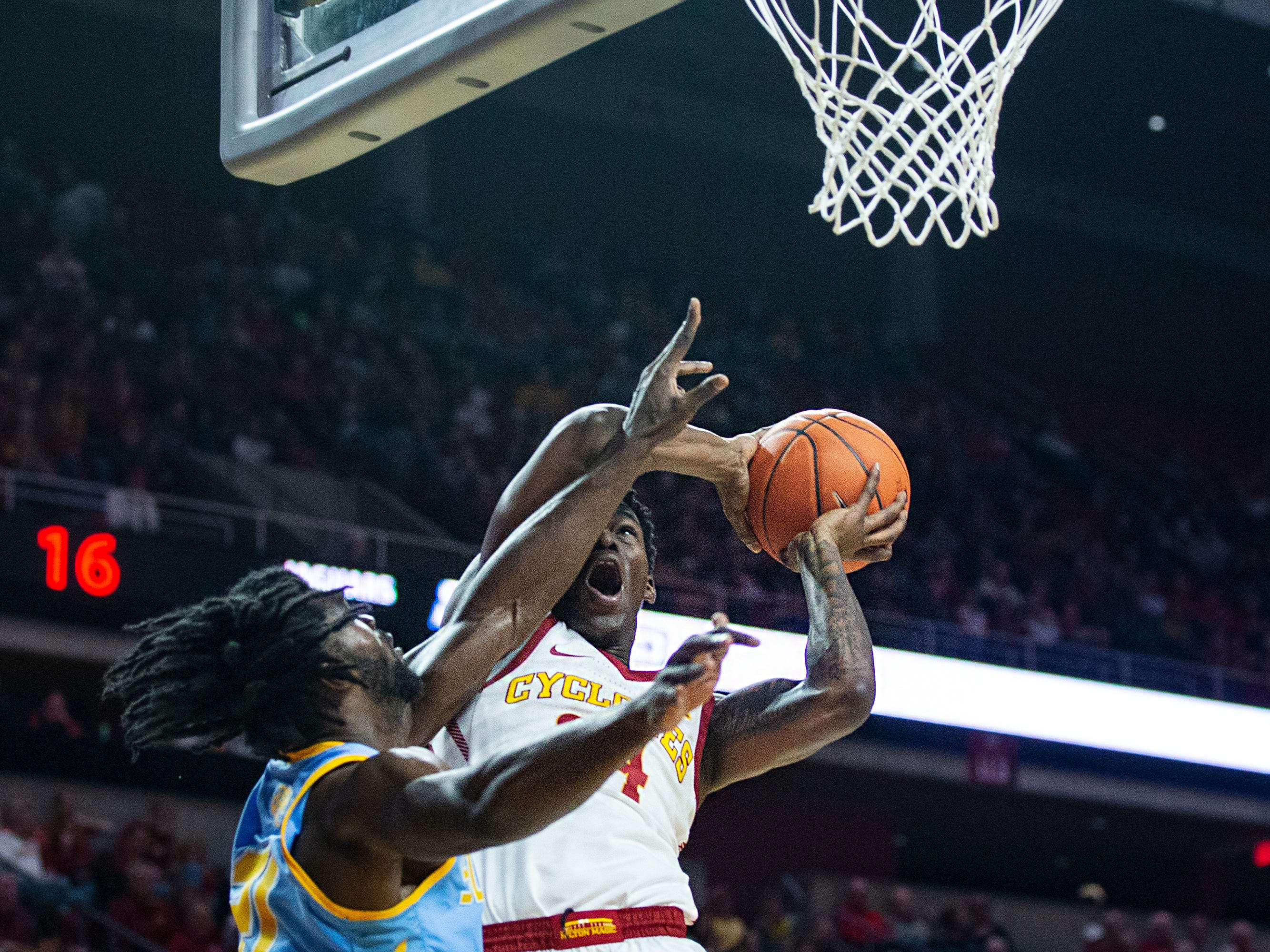Iowa State's Terrence Lewis is fouled while he tries to shoot during the Iowa State men's basketball game against Southern on Sunday, Dec. 9, 2018, in Hilton Coliseum.
