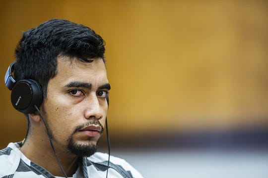 Cristhian Bahena Rivera, 24, listens to the court preceding during his arraignment on Wednesday, Sept. 19, 2018, at the Poweshiek County Courthouse in Montezuma. Rivera plead not guilty to the charge of first-degree murder in the death of Mollie Tibbetts