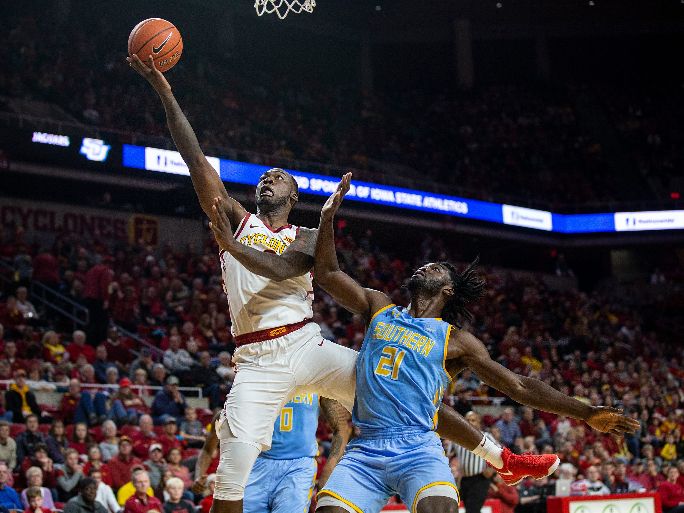 Iowa State's Cameron Lard shoots the ball during the Iowa State men's basketball game against Southern on Sunday, Dec. 9, 2018, in Hilton Coliseum.
