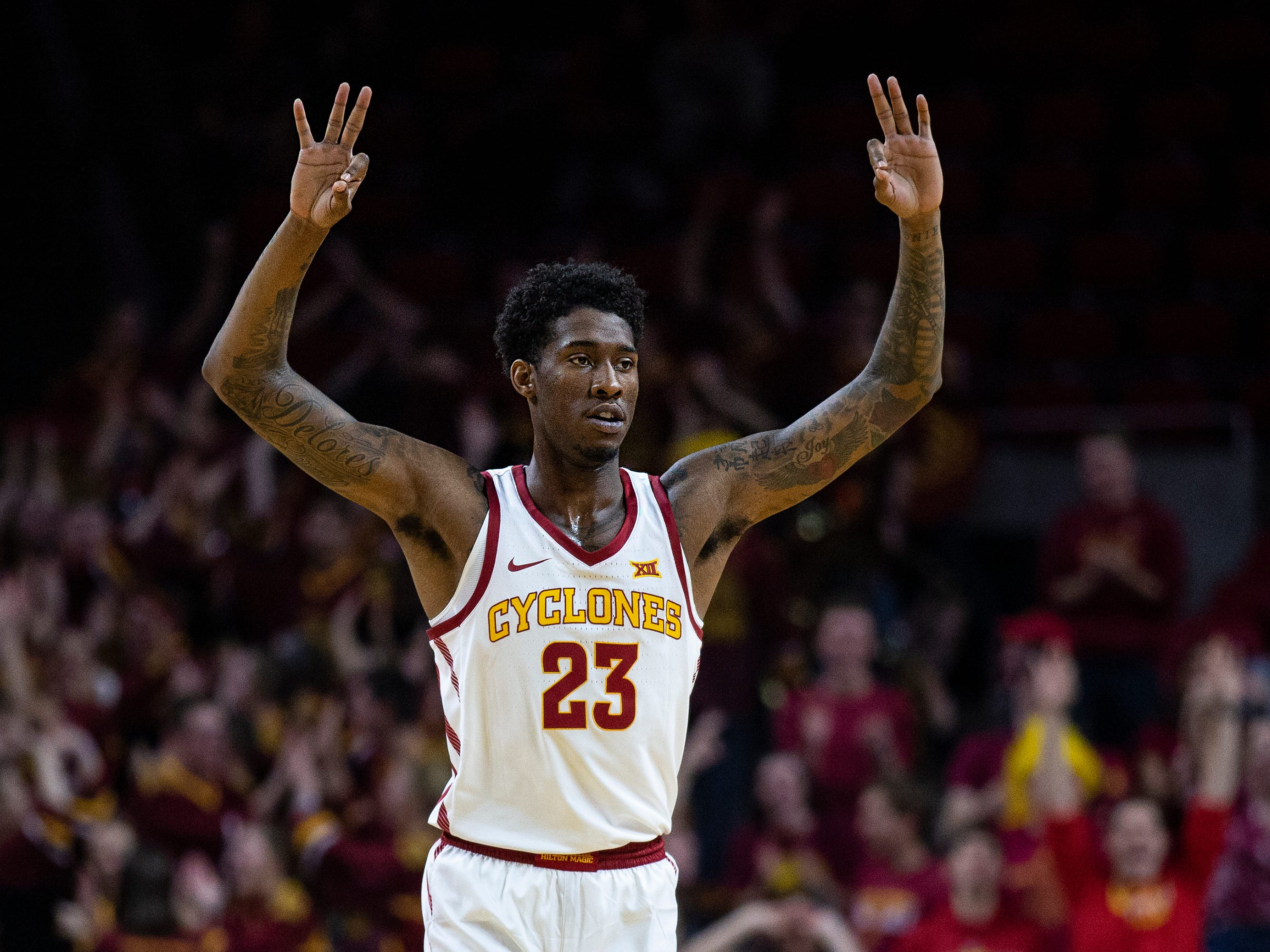 Iowa State's Zoran Talley Jr. celebrates scoring during the Iowa State men's basketball game against Southern on Sunday, Dec. 9, 2018, in Hilton Coliseum.