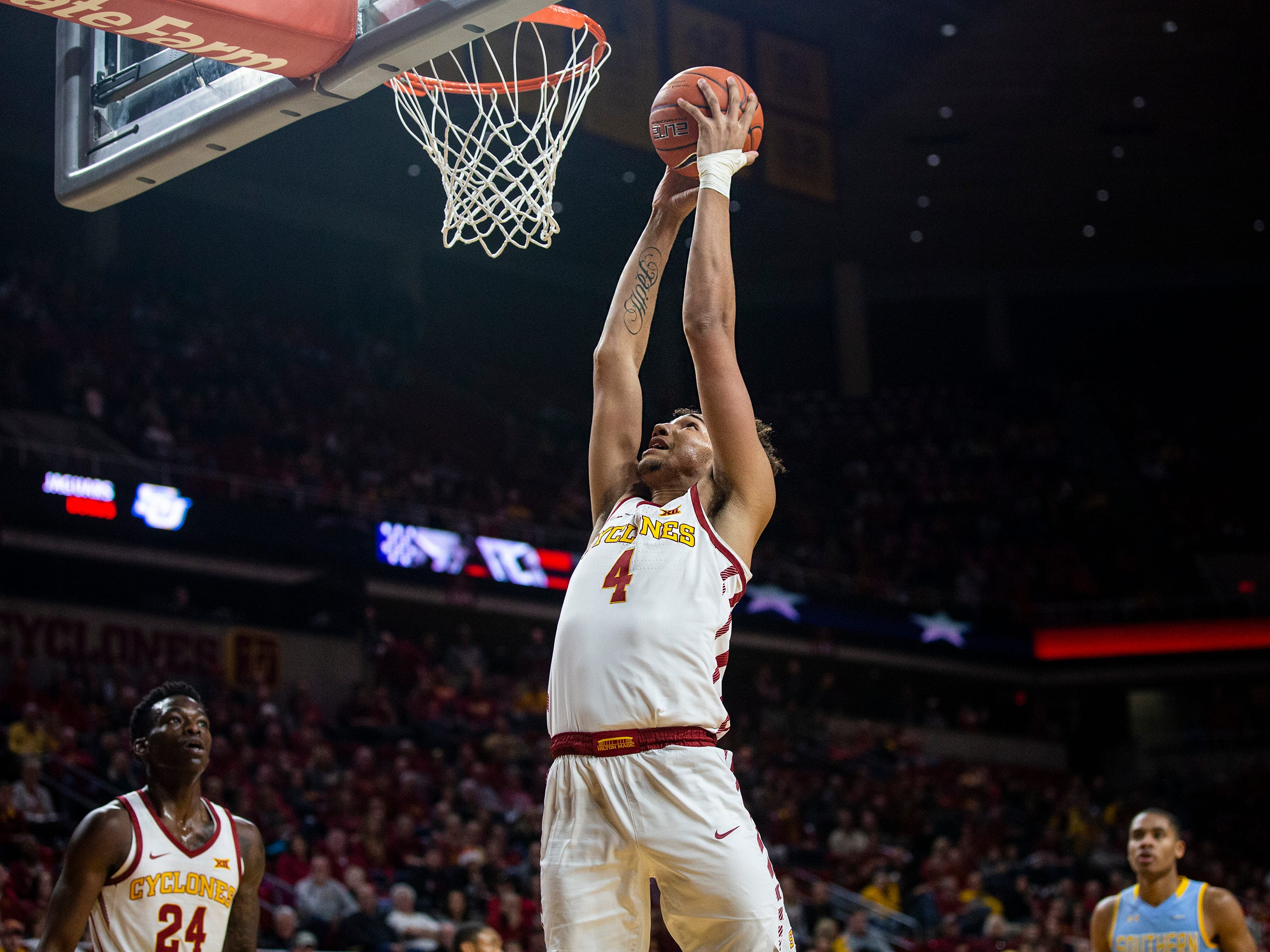Iowa State's George Conditt dunks the ball during the Iowa State men's basketball game against Southern on Sunday, Dec. 9, 2018, in Hilton Coliseum.