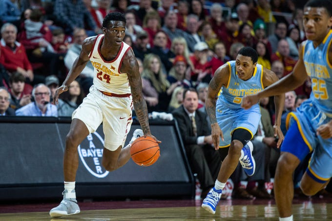 Iowa State's Terrence Lewis brings the ball down the court during the Iowa State men's basketball game against Southern on Sunday, Dec. 9, 2018, in Hilton Coliseum.