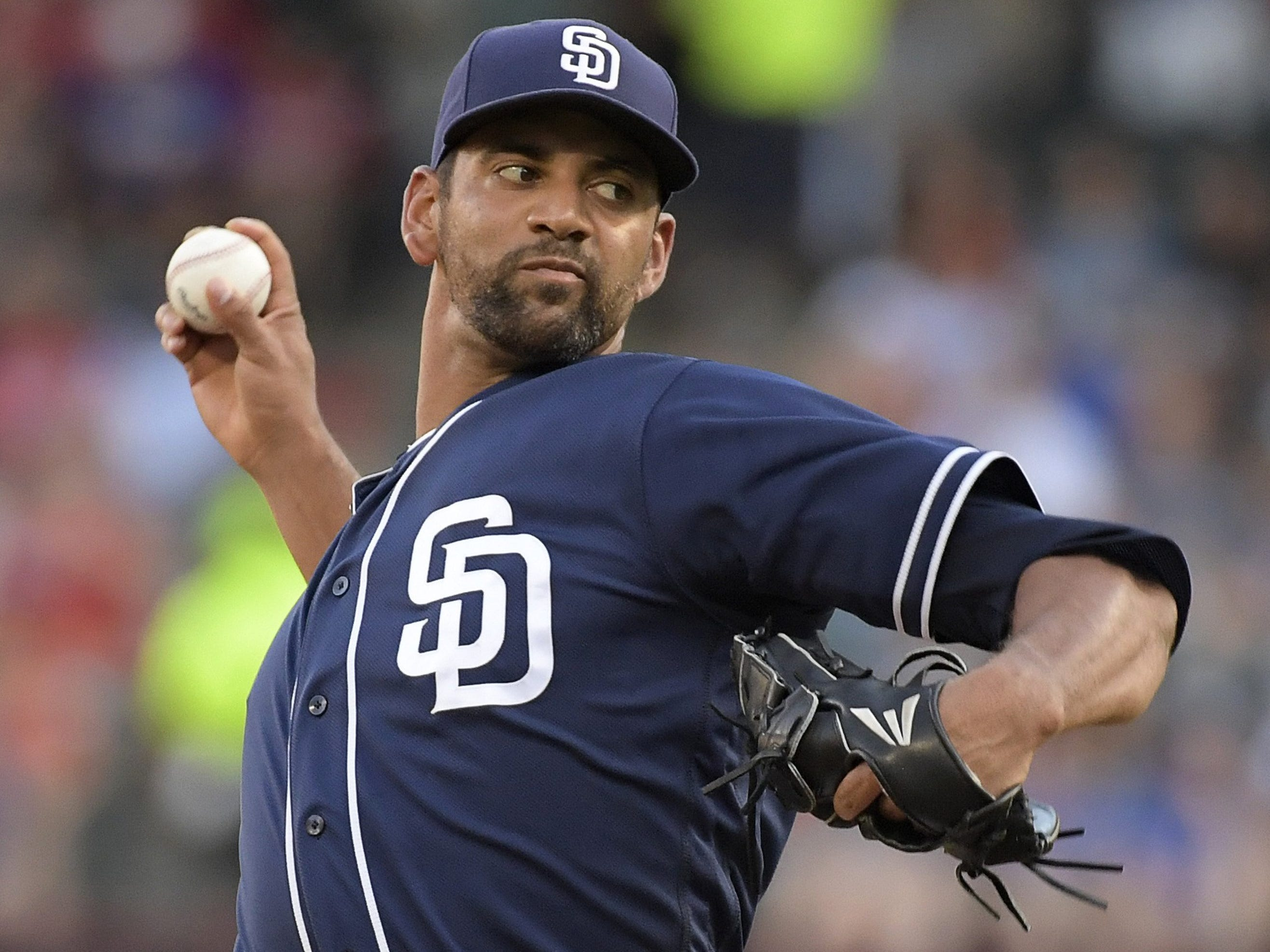 Padres pitcher Tyson Ross works during the first inning against the Texas Rangers at Globe Life Park in Arlington, Texas, on Tuesday, June 26, 2018.