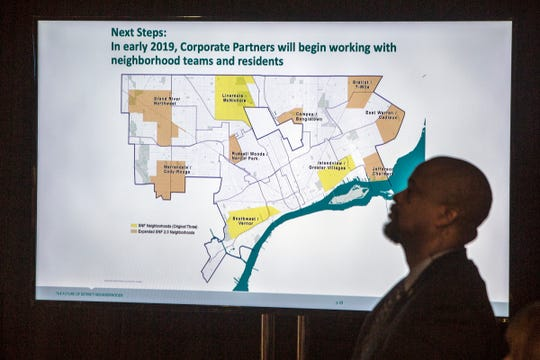 Affected neighborhoods are shown on a screen as Mayor Duggan and several corporate executives announce a historic, multi-million dollar commitment to Detroit neighborhoods in Detroit, on Monday, Dec, 10, 2018