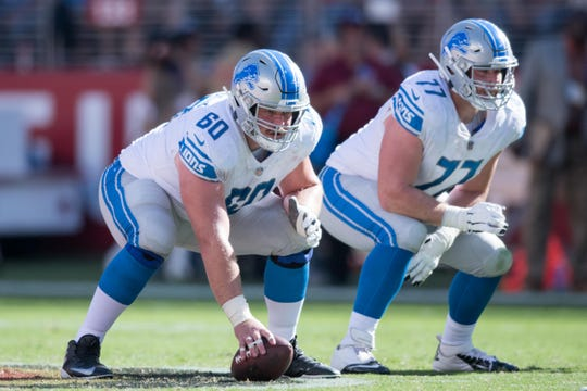 Detroit Lions center Graham Glasgow (60) and guard Frank Ragnow (77) during the fourth quarter against the San Francisco 49ers, Sept. 16, 2018.