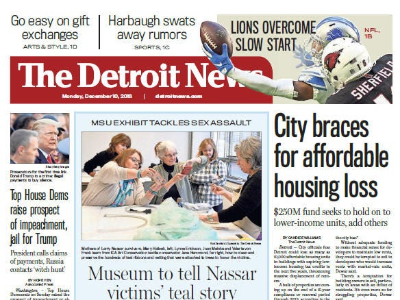 The front page of The Detroit News on Monday, December 10, 2018.