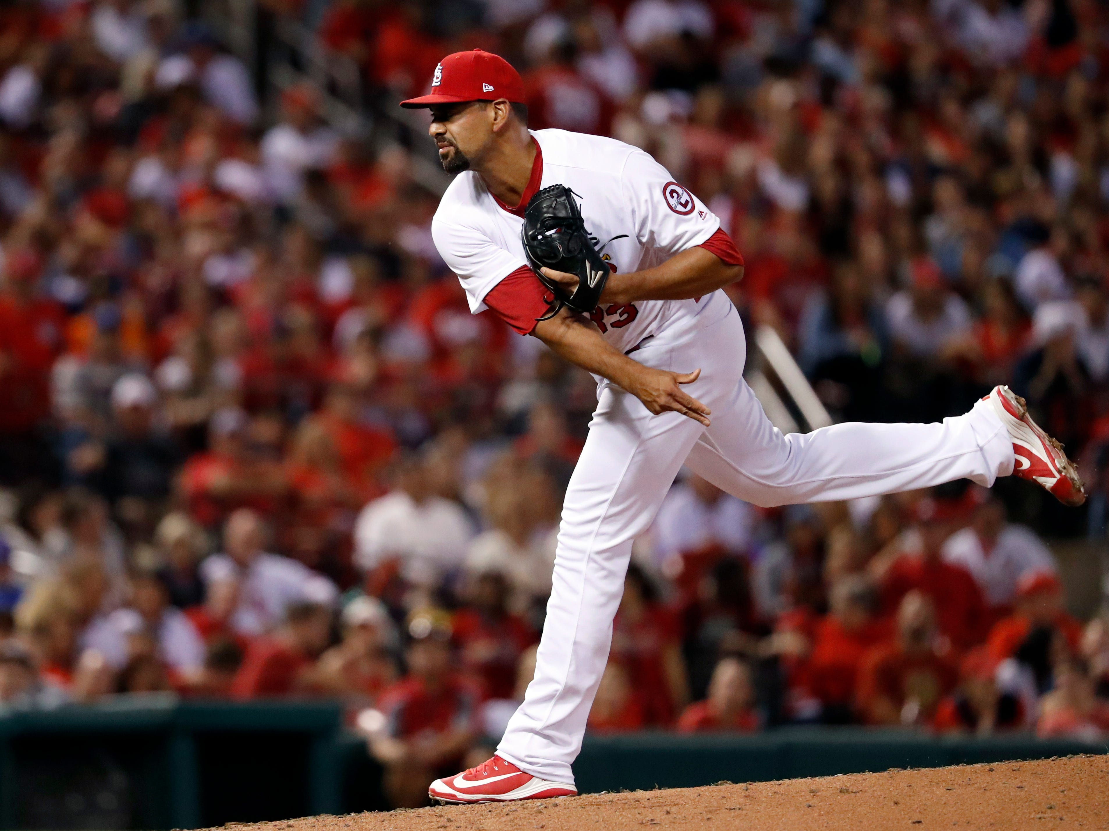 St. Louis Cardinals starting pitcher Tyson Ross throws during the fifth inning of a game against the San Francisco Giants Friday, Sept. 21, 2018, in St. Louis.